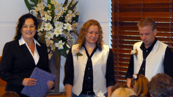 Donna waits with her Bestman Danny for her bride Bridget to arrive. Donna & Bridget celebrated their Commitment in the Crowne Plaza Chapel in Surfer's Paradise on the Central Gold Coas