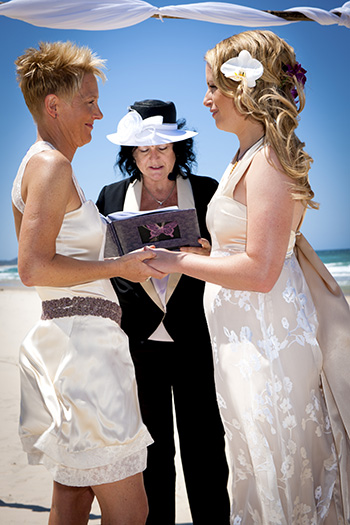 Emily & Denise' Commitment Pavilions Broken Head Byron Bay Northern NSW with Rainbow Pride Celebrant Marilyn Verschuure