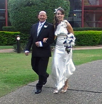 Gemma walked down the aisle by Dennis to Cath at their Commitment near the Brisbane River at Eve's On The River in Teneriffe Brisbane