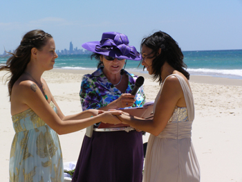 Hayley says her vows to Tanja at their Commitment Ceremony on a glorious sunny day at Bilinga Beach on the Gold Coast with family and friends supporting them and celebrating with them.