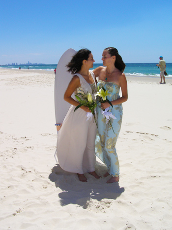Hayely and Tanja show their love and commitment in a fun, relaxed simple yet traditional commitment Ceremony on Bilinga Beach in the southern Gold Coast. The Surfers Paradise skyline and the deep blue pacific ocean and white sand frame their love for one another