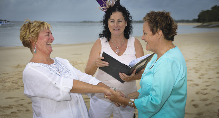 Rainbow Pride Celebrant Marilyn Verschuure performed Jude & Barb's Handfasting Commitment Ceremony on Bribie Island's legendary Pumicstone Passage Beach north of Brisbane & south of the Sunshine Coast