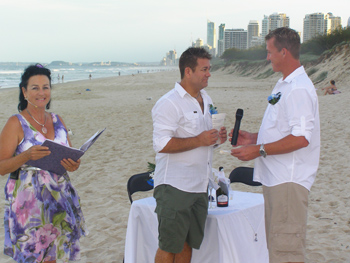 Justins reads his Personal Vows to David on Main Beach Gold Coast