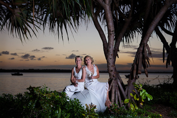 Rainbow Pride Celebrant  Louise & Debbie Commitment at Sunset Park Bribie Island South East Queensland