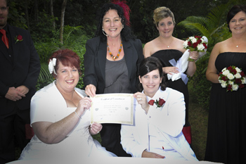 Maria & Sally from Mackay had their Commitment Ceremony at the Mt Ommaney Hotel Apartment's Wedding Garden in West Brisbane with Rainbow Pride Celebrant Marilyn Verschuure