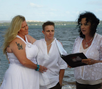 Rachel & Kris Commitment at Victoria Point Redlands with Rainbow Pride Celebrant Marilyn Verschuure