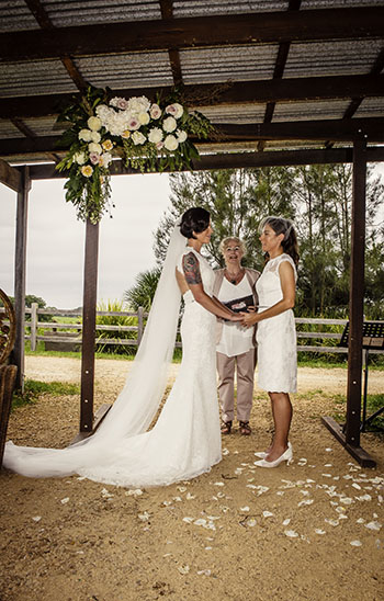 Rainbow Pride Celebrant Candice & Maisie Wedding Three Blue Ducks on the Farm Byron Bay