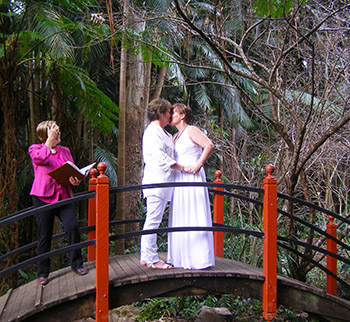 Rainbow Pride Celebrant Marilyn Verschuure for Debra _Sheila's Commitment at the Japanese Garden Mt Tamborine Botanic Gardens Gold Coast