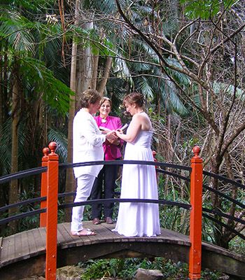 Rainbow Pride Celebrant Marilyn Verschuure for Debra _Sheila's Commitment at the Japanese Garden Mt Tamborine Botanic Gardens Gold Coast Ring Ceremony