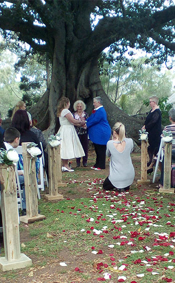 Rainbow Pride Celebrant Jody & Naomi Handfasting Civil Partnership Old Petrie Town North Brisbane